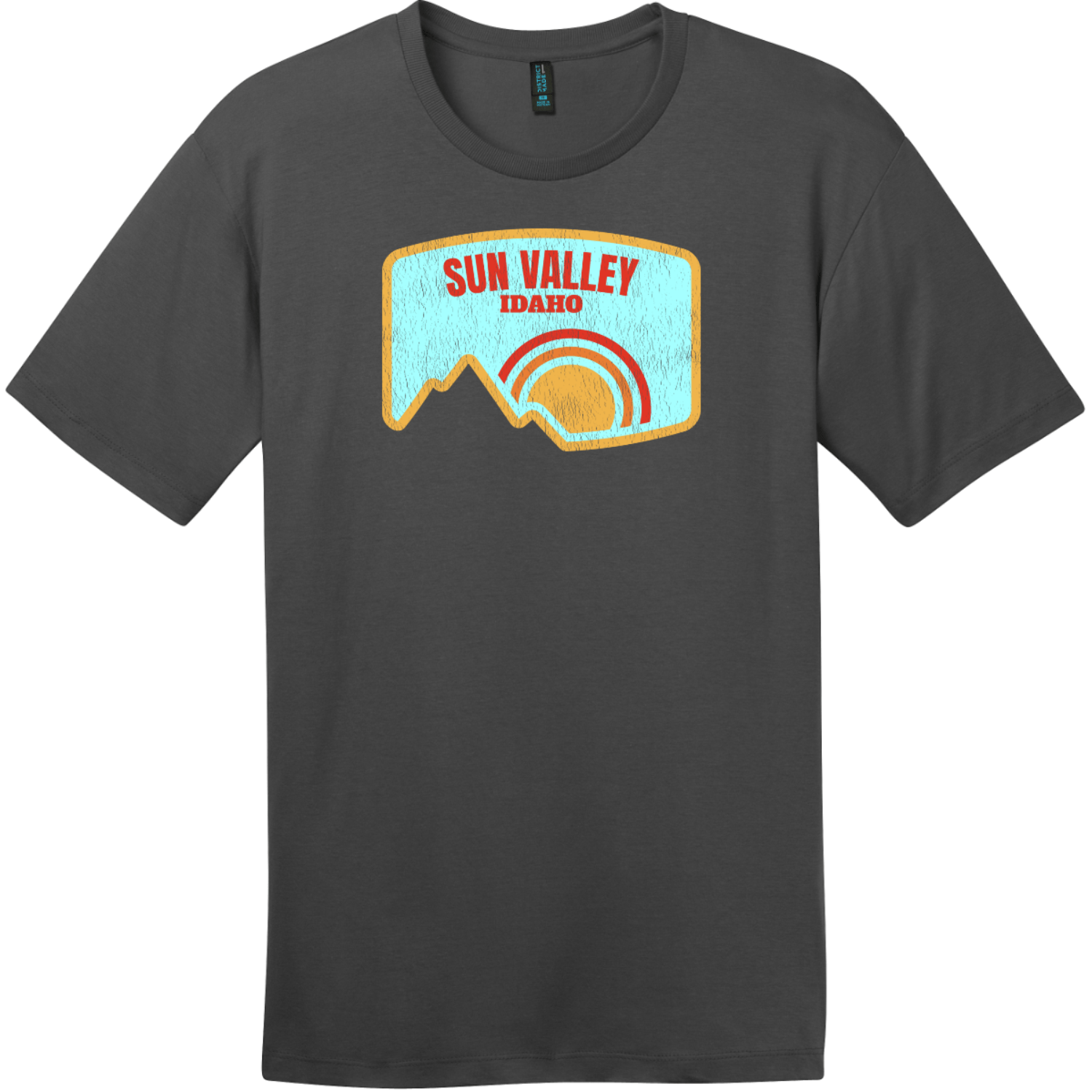 Sun Valley Idaho Mountain Vintage T-Shirt Charcoal District Perfect Weight Tee DT104