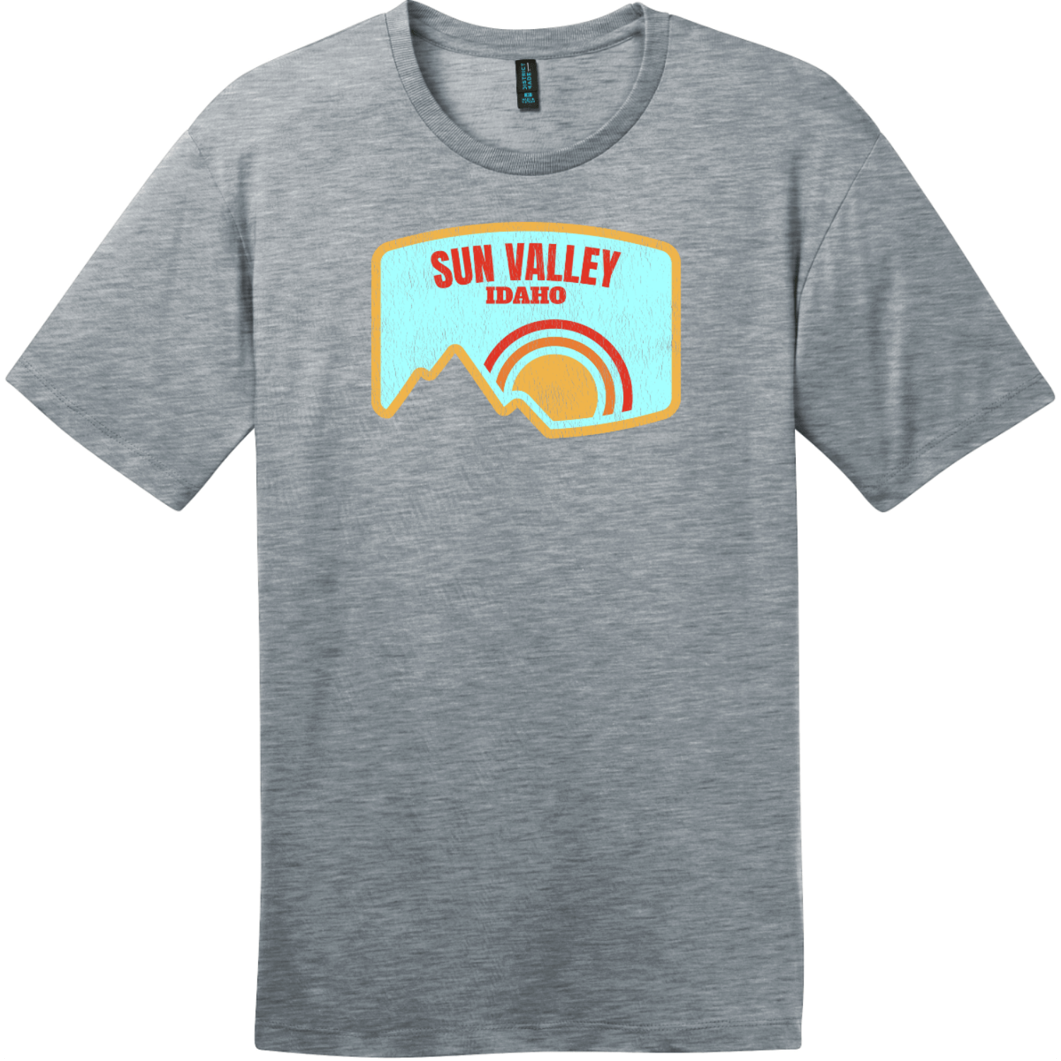 Sun Valley Idaho Mountain Vintage T-Shirt Heathered Steel District Perfect Weight Tee DT104