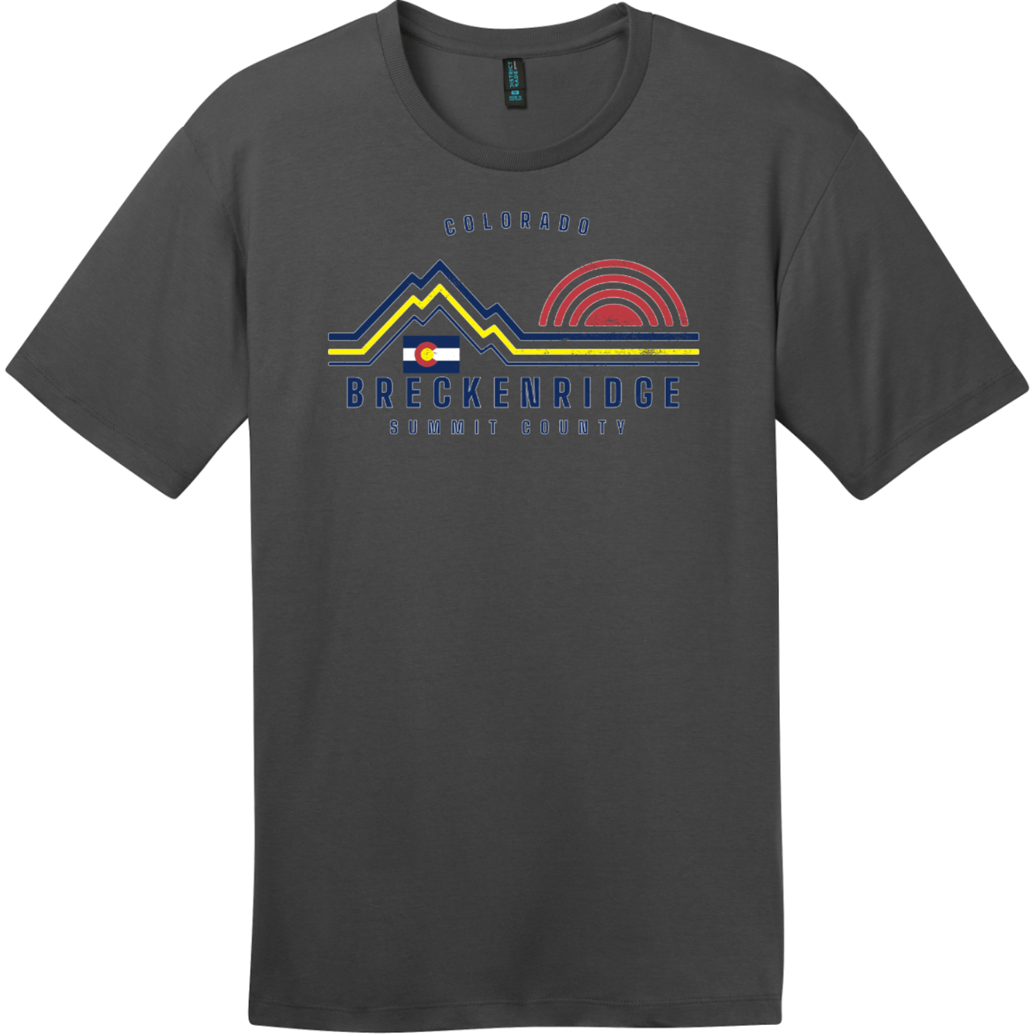 Breckenridge Mountain Summit County T-Shirt Charcoal District Perfect Weight Tee DT104