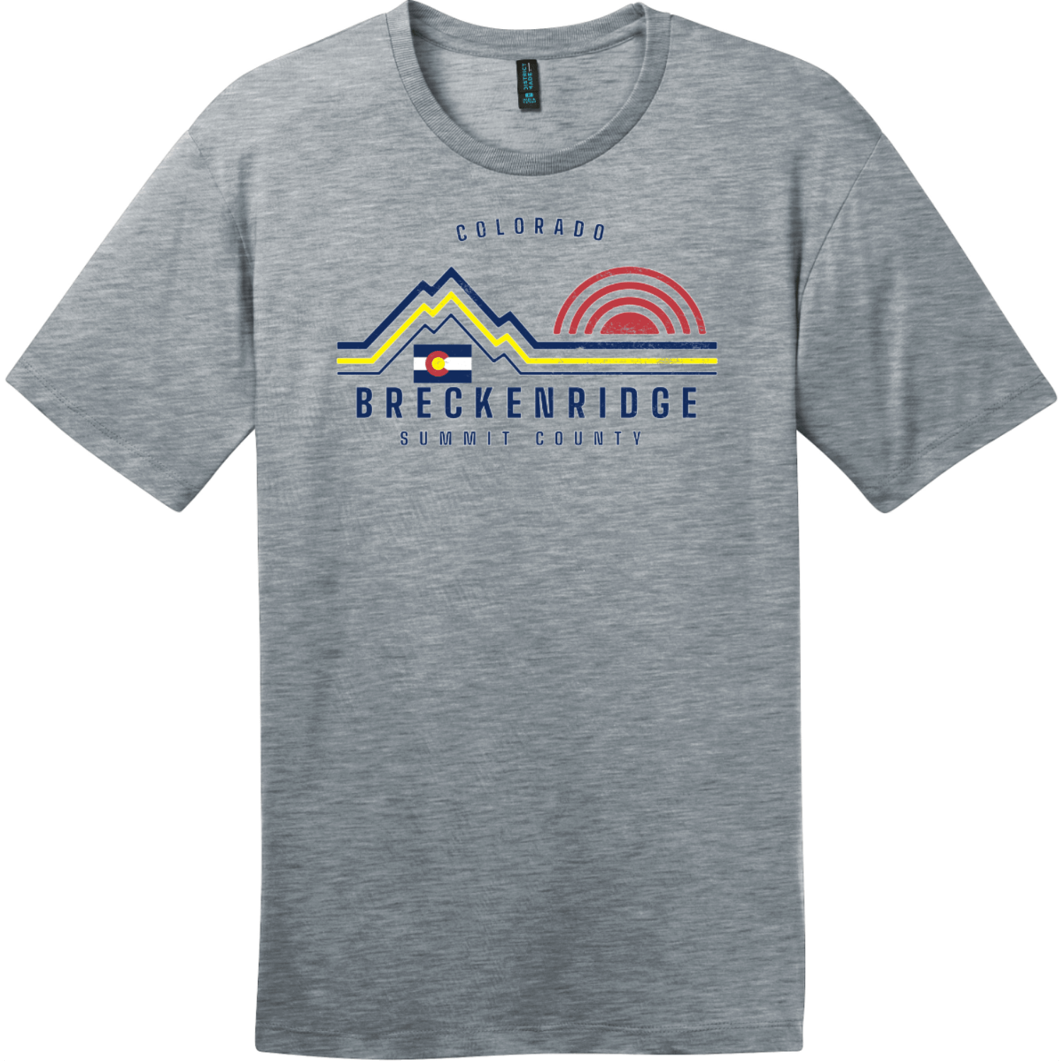 Breckenridge Mountain Summit County T-Shirt Heathered Steel District Perfect Weight Tee DT104