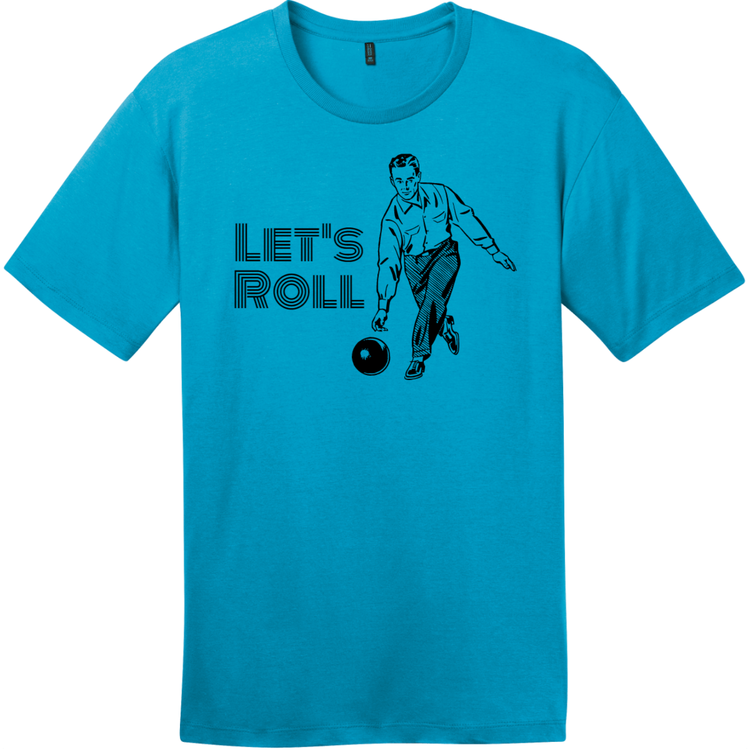 Lets Roll Bowling T Shirt Bright Turquoise District Perfect Weight Tee DT104