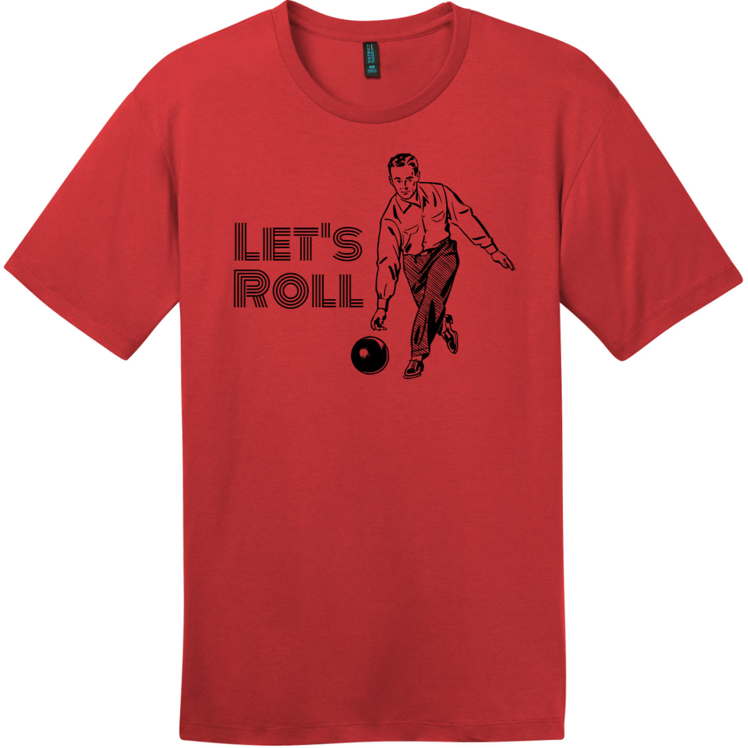 Lets Roll Bowling T Shirt Classic Red District Perfect Weight Tee DT104