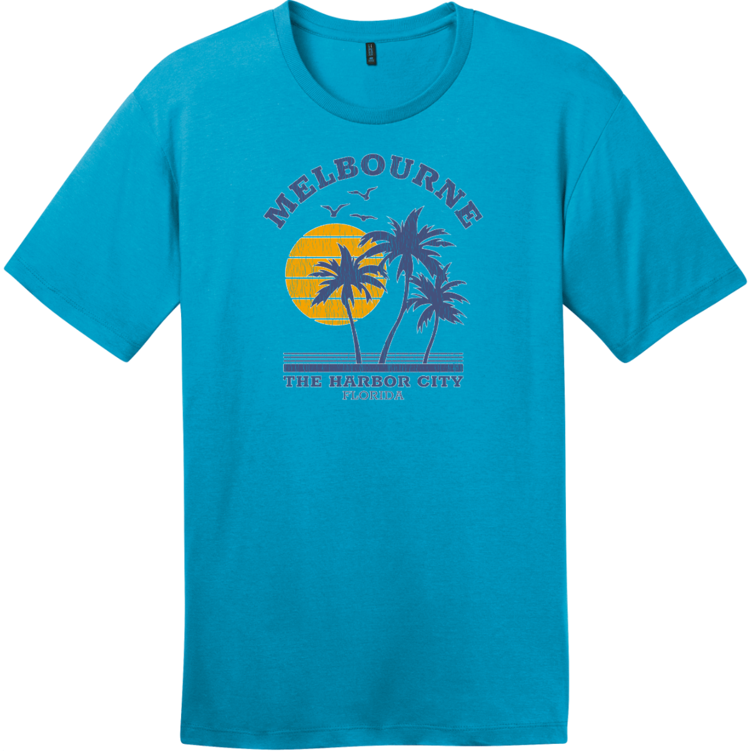 Melbourne Florida The Harbor City Vintage T-Shirt Bright Turquoise District Perfect Weight Tee DT104