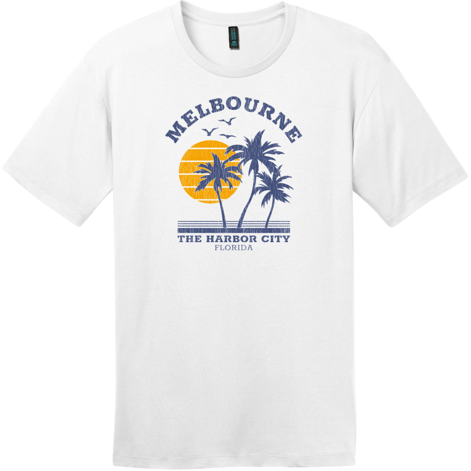 Melbourne Florida The Harbor City Vintage T-Shirt Bright White District Perfect Weight Tee DT104