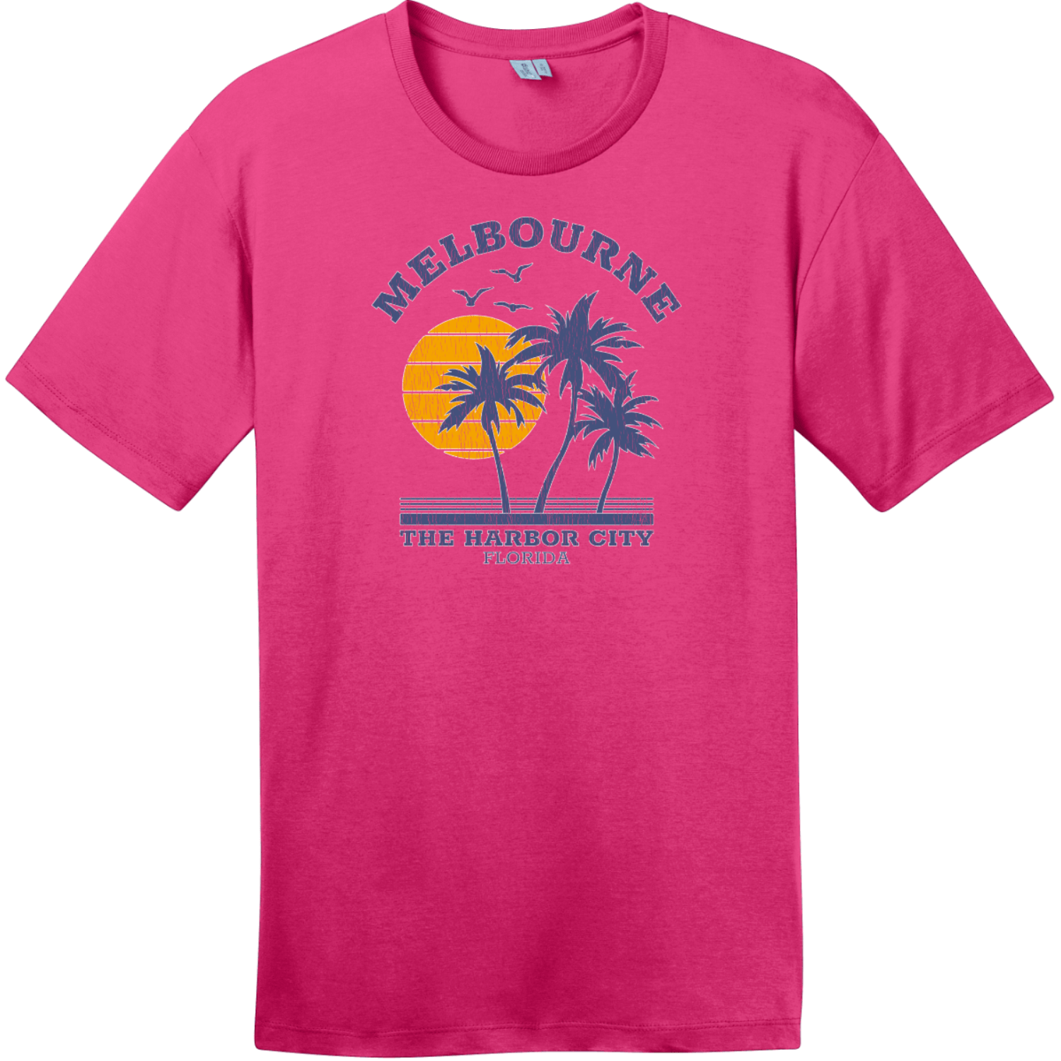 Melbourne Florida The Harbor City Vintage T-Shirt Dark Fuchsia District Perfect Weight Tee DT104