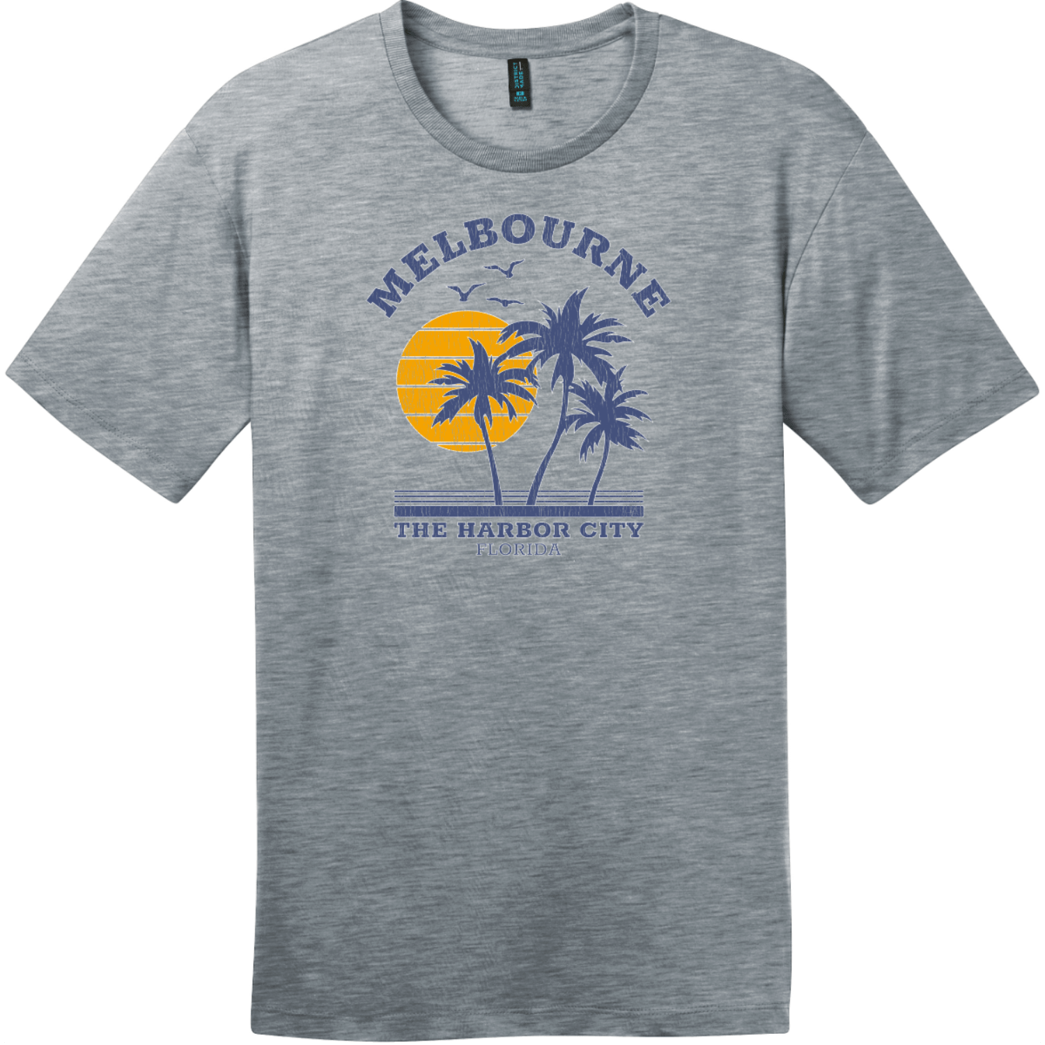 Melbourne Florida The Harbor City Vintage T-Shirt Heathered Steel District Perfect Weight Tee DT104