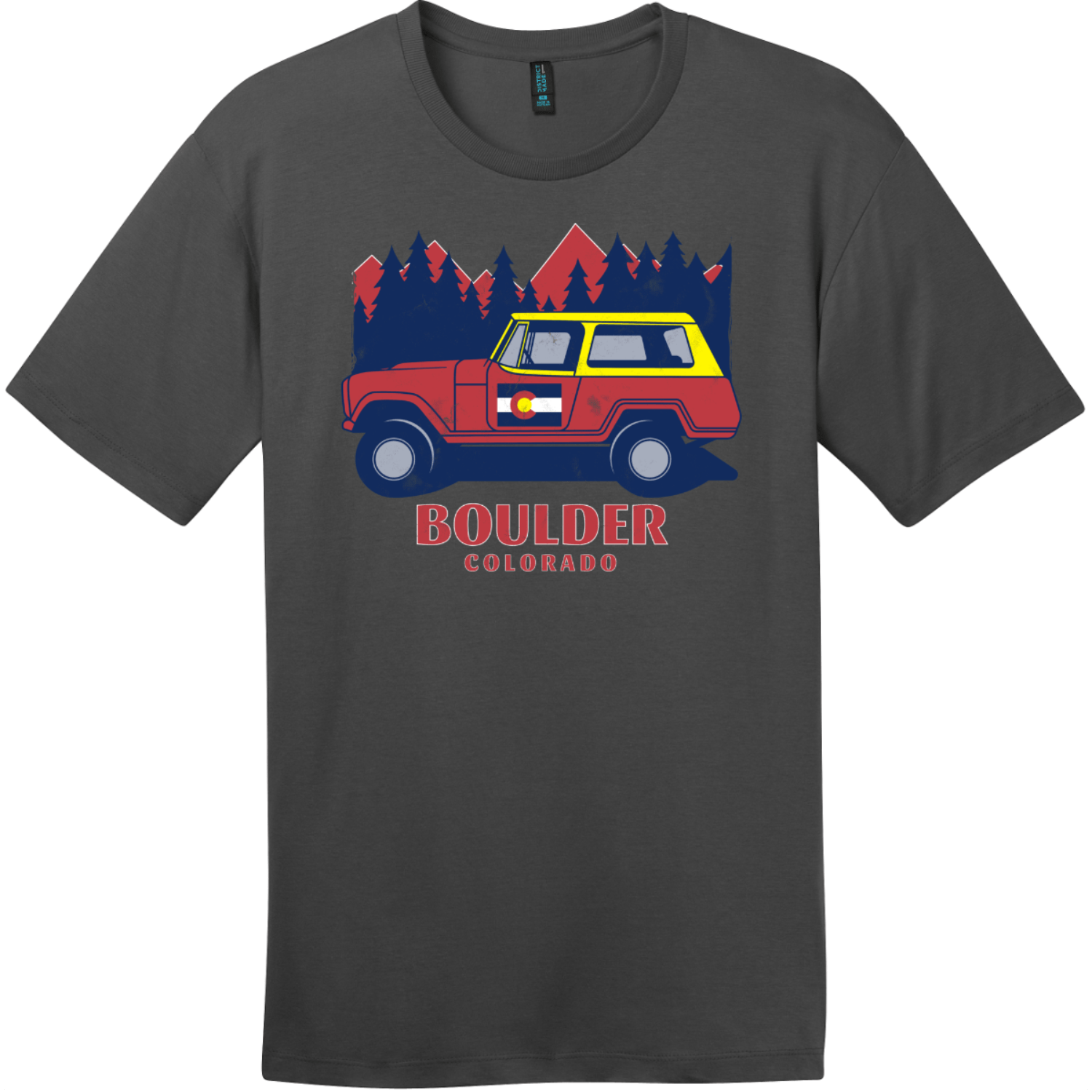 Boulder Colorado Vintage T Shirt Charcoal District Perfect Weight Tee DT104