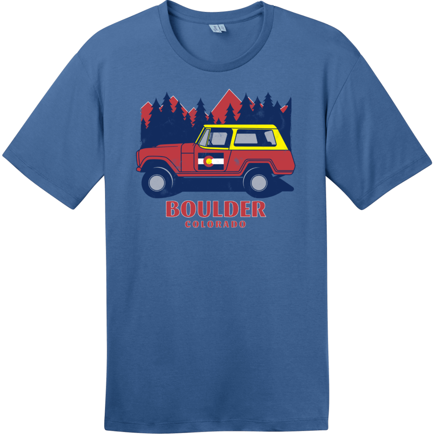 Boulder Colorado Vintage T Shirt Maritime Blue District Perfect Weight Tee DT104