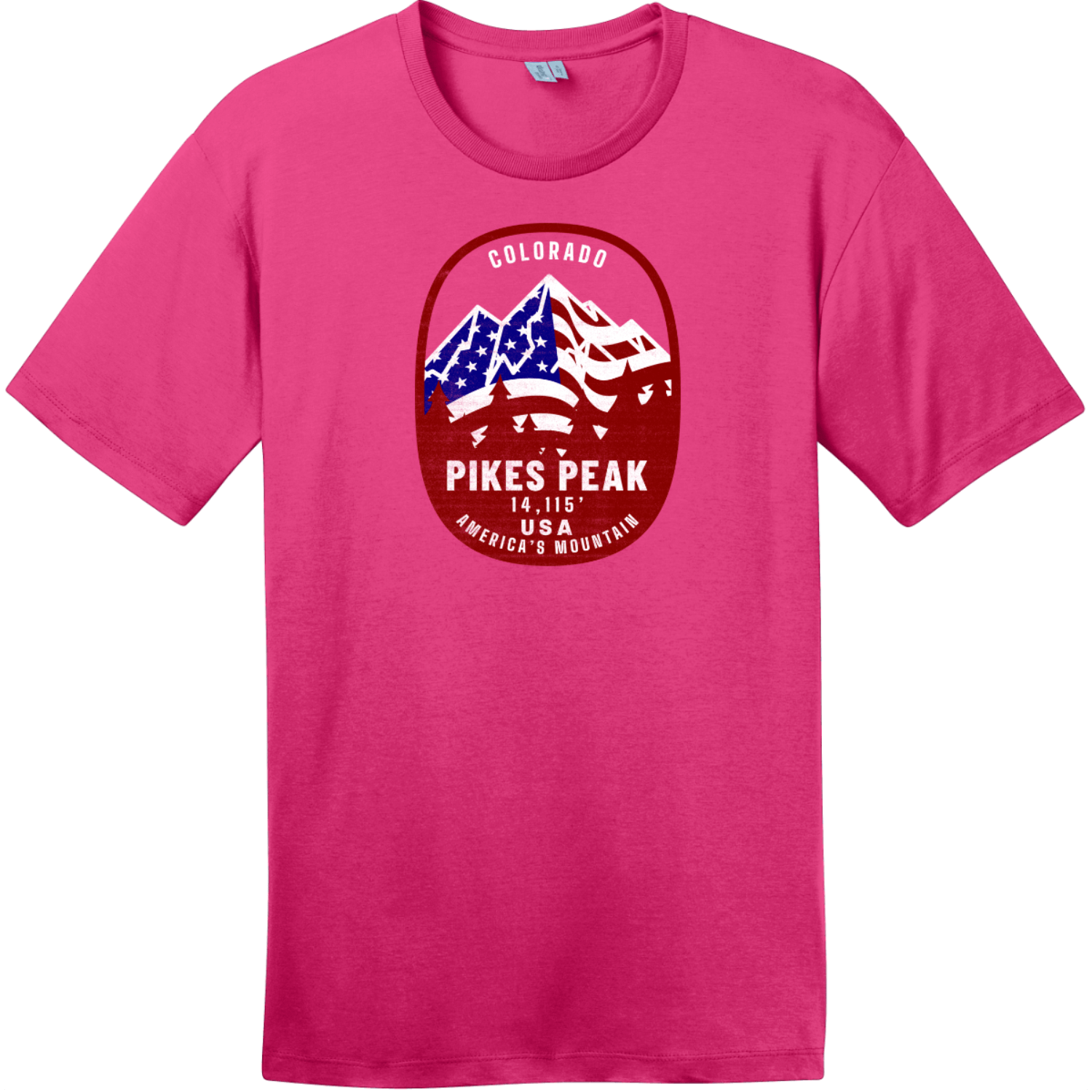 Pikes Peak Americas Mountain T-Shirt Dark Fuchsia District Perfect Weight Tee DT104