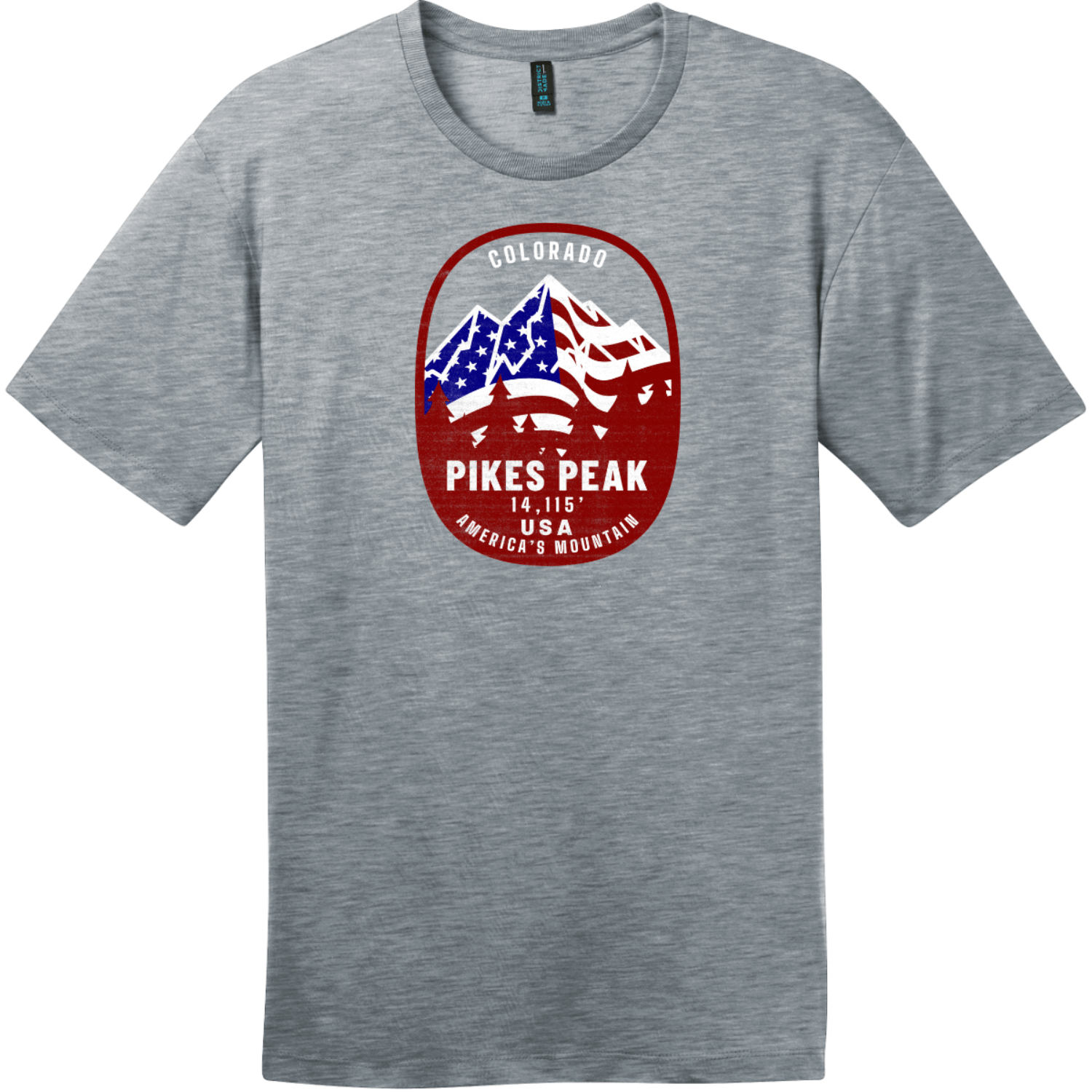Pikes Peak Americas Mountain T-Shirt Heathered Steel District Perfect Weight Tee DT104