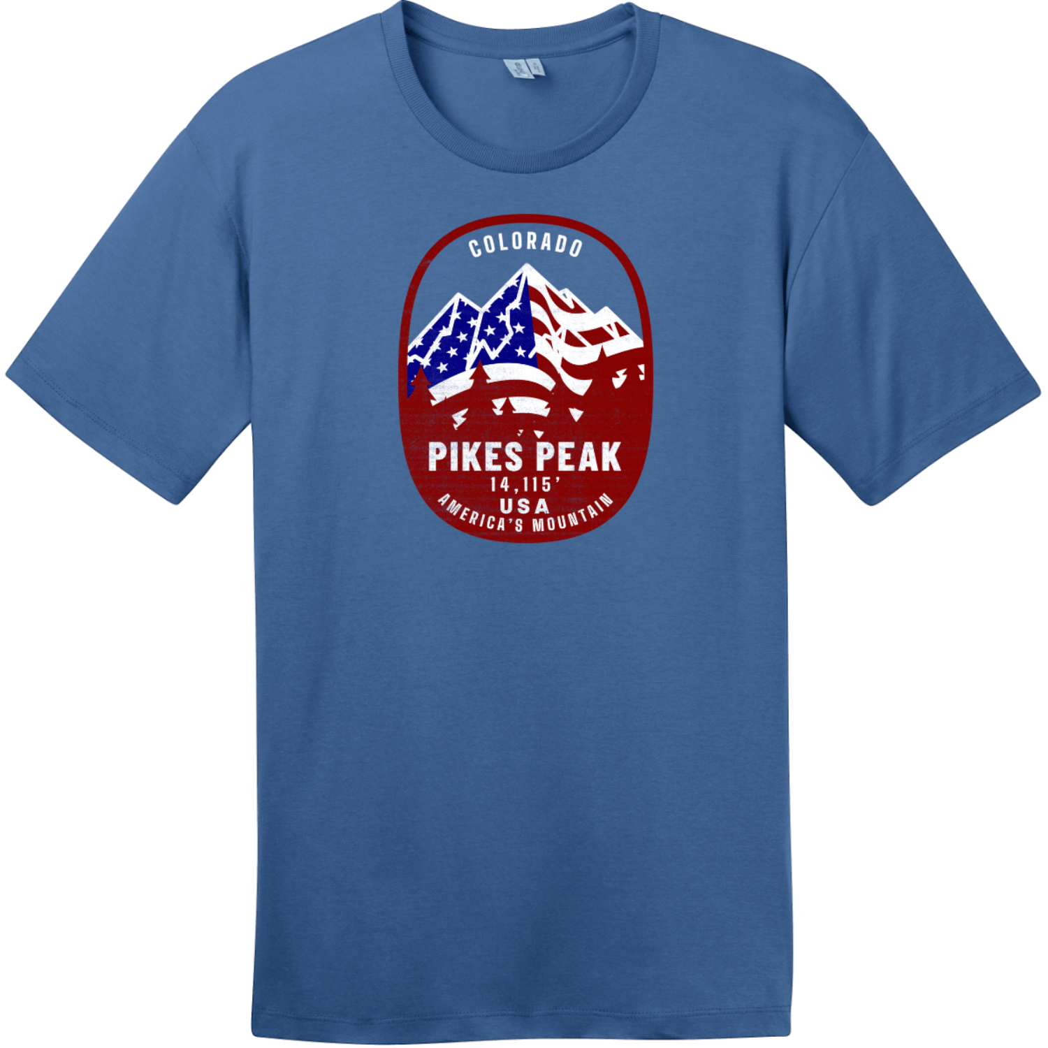 Pikes Peak Americas Mountain T-Shirt Maritime Blue District Perfect Weight Tee DT104