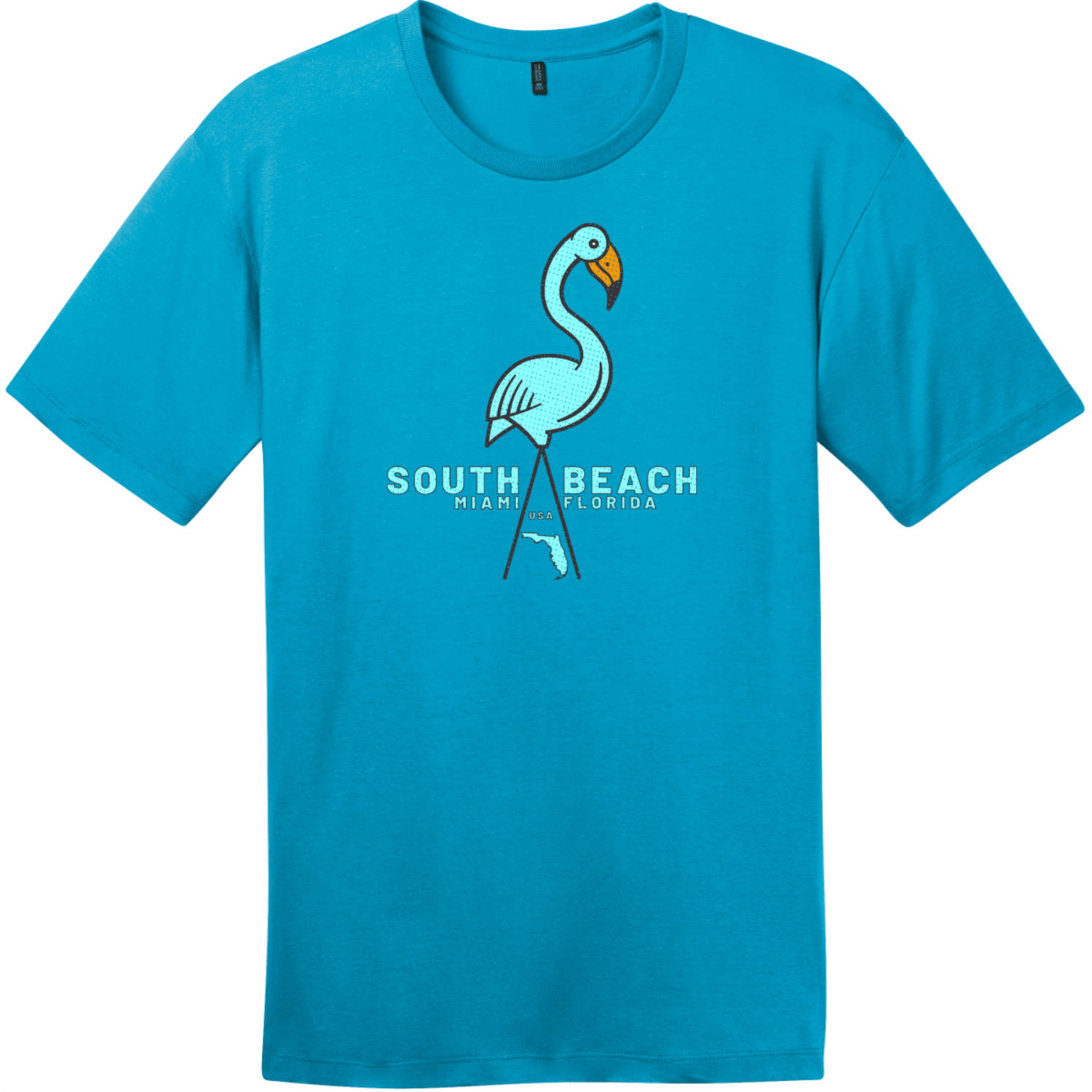 South Beach Miami Flamingo T Shirt Bright Turquoise District Perfect Weight Tee DT104
