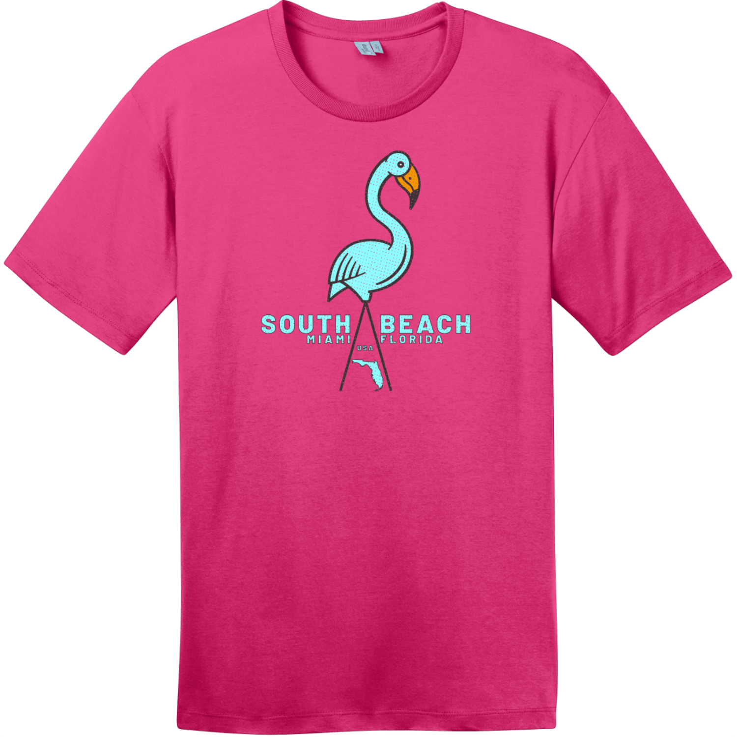 South Beach Miami Flamingo T Shirt Dark Fuchsia District Perfect Weight Tee DT104