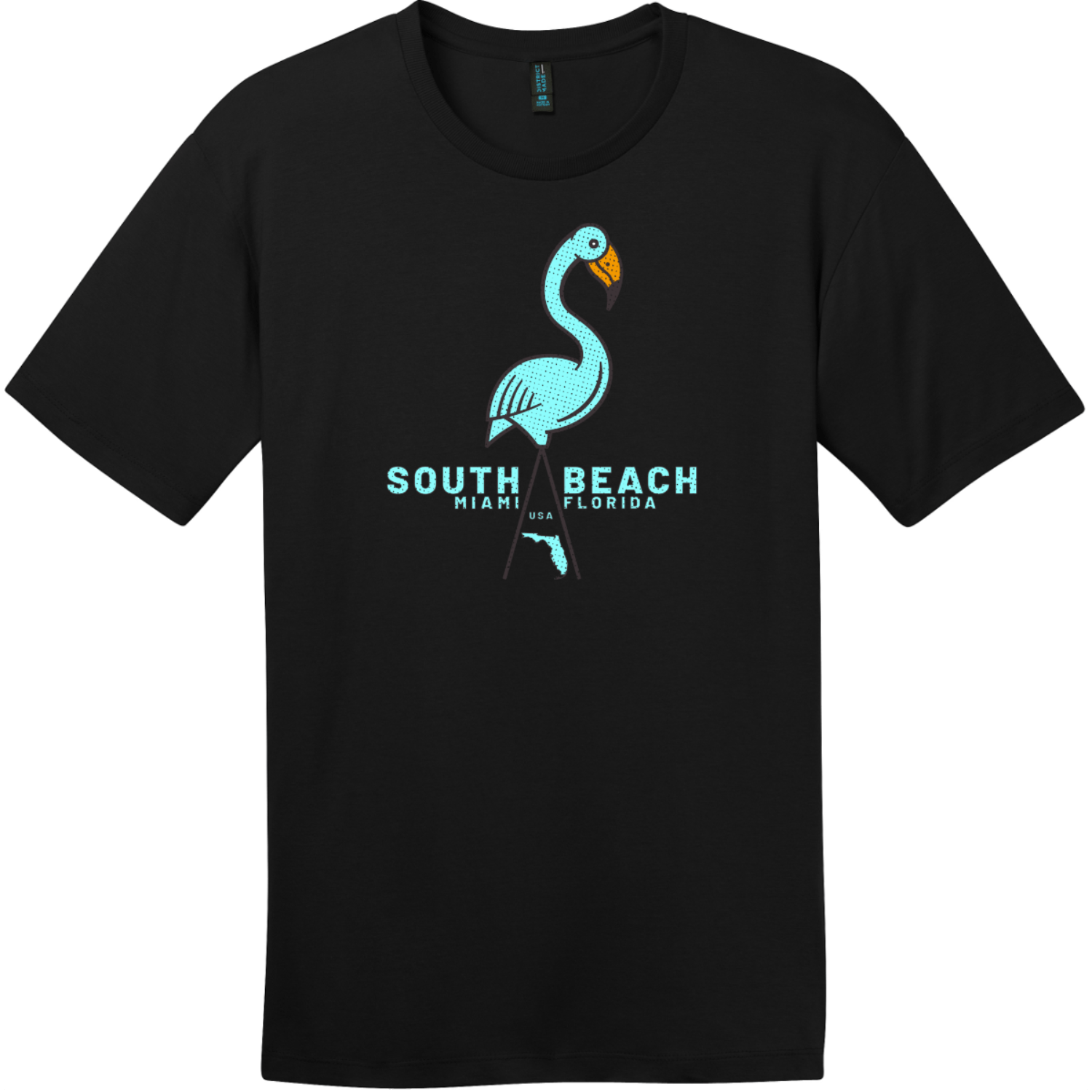 South Beach Miami Flamingo T Shirt Jet Black District Perfect Weight Tee DT104