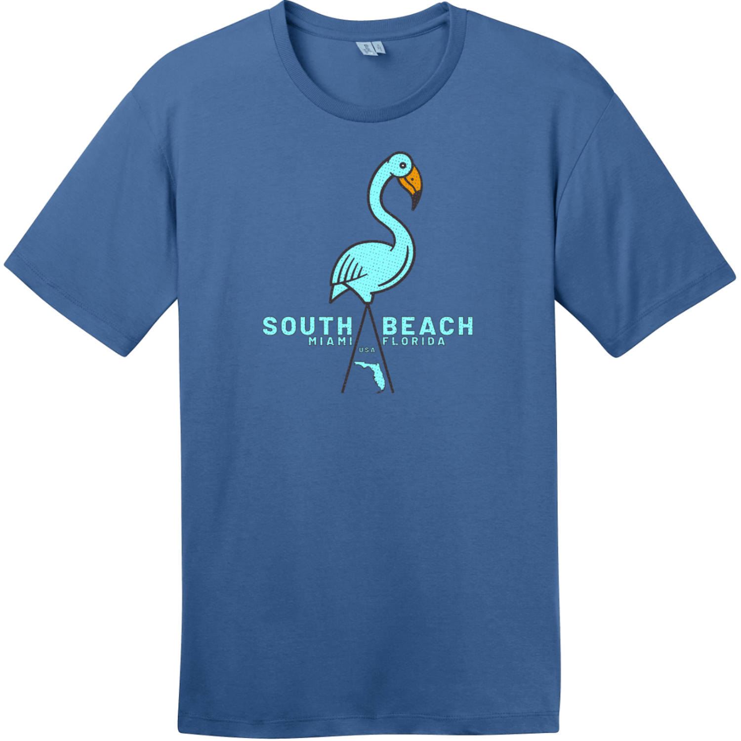 South Beach Miami Flamingo T Shirt Maritime Blue District Perfect Weight Tee DT104