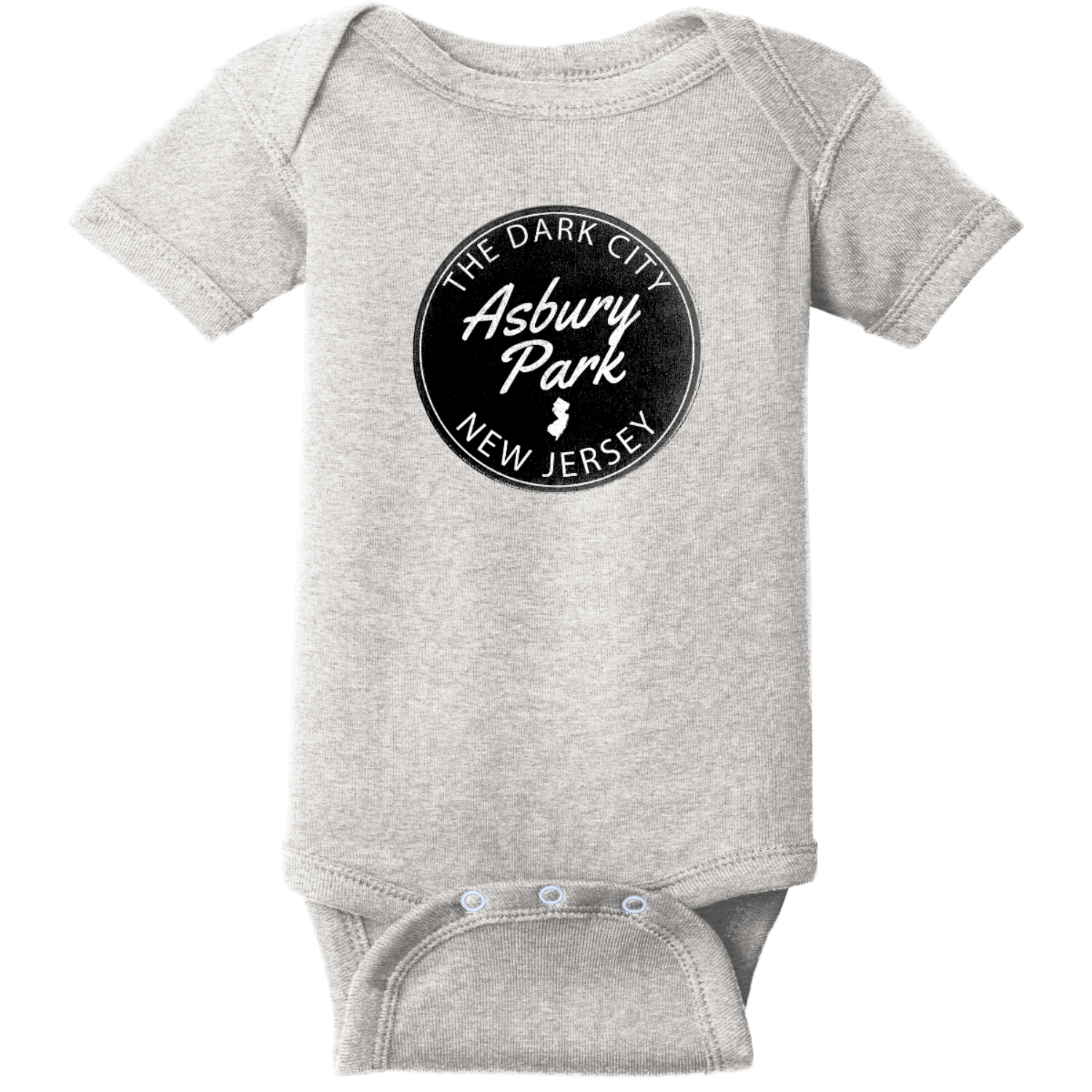 Asbury Park NJ Dark City Baby Bodysuit Heather Rabbit Skins Infant Short Sleeve Infant Rib Bodysuit RS4400