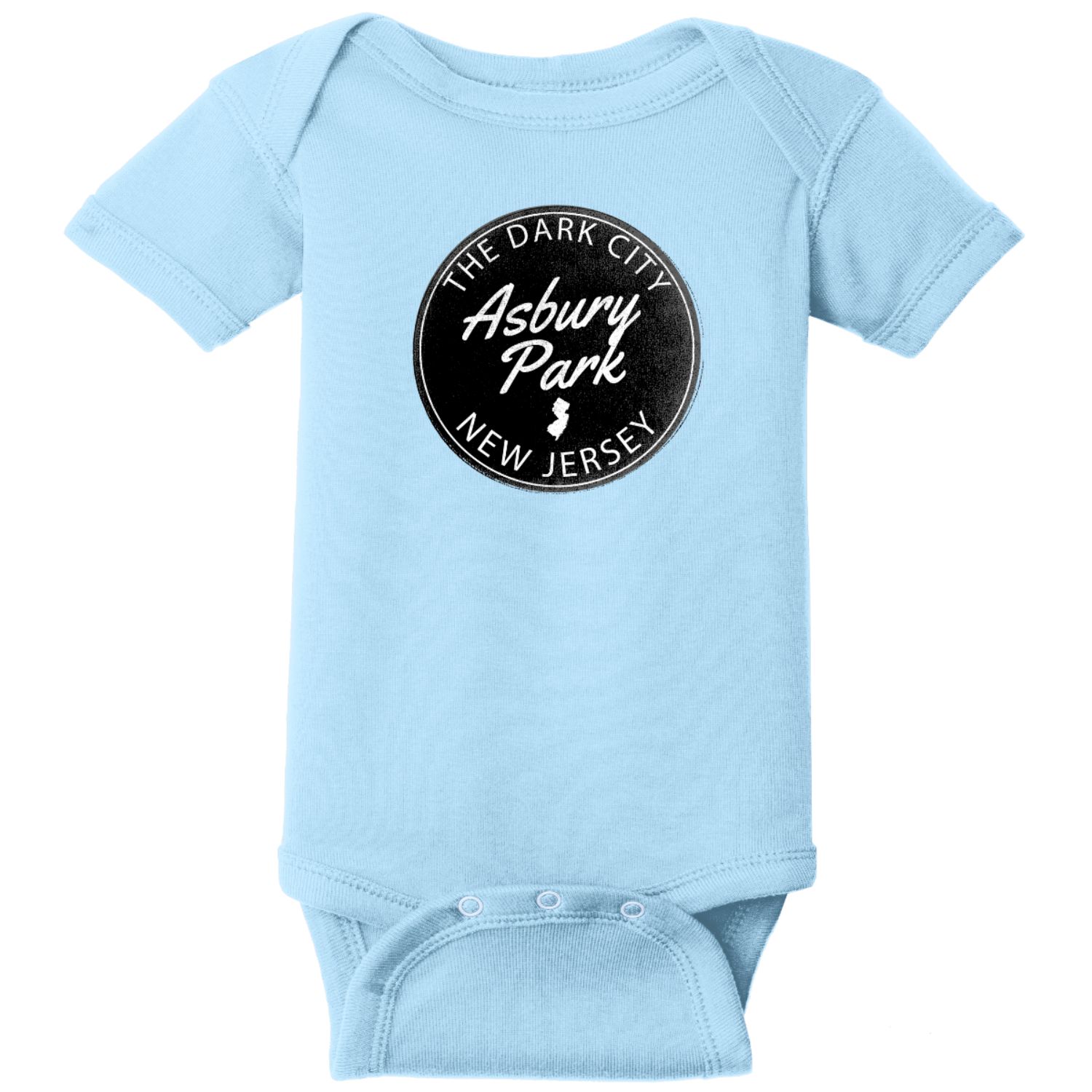Asbury Park NJ Dark City Baby Bodysuit Light Blue Rabbit Skins Infant Short Sleeve Infant Rib Bodysuit RS4400