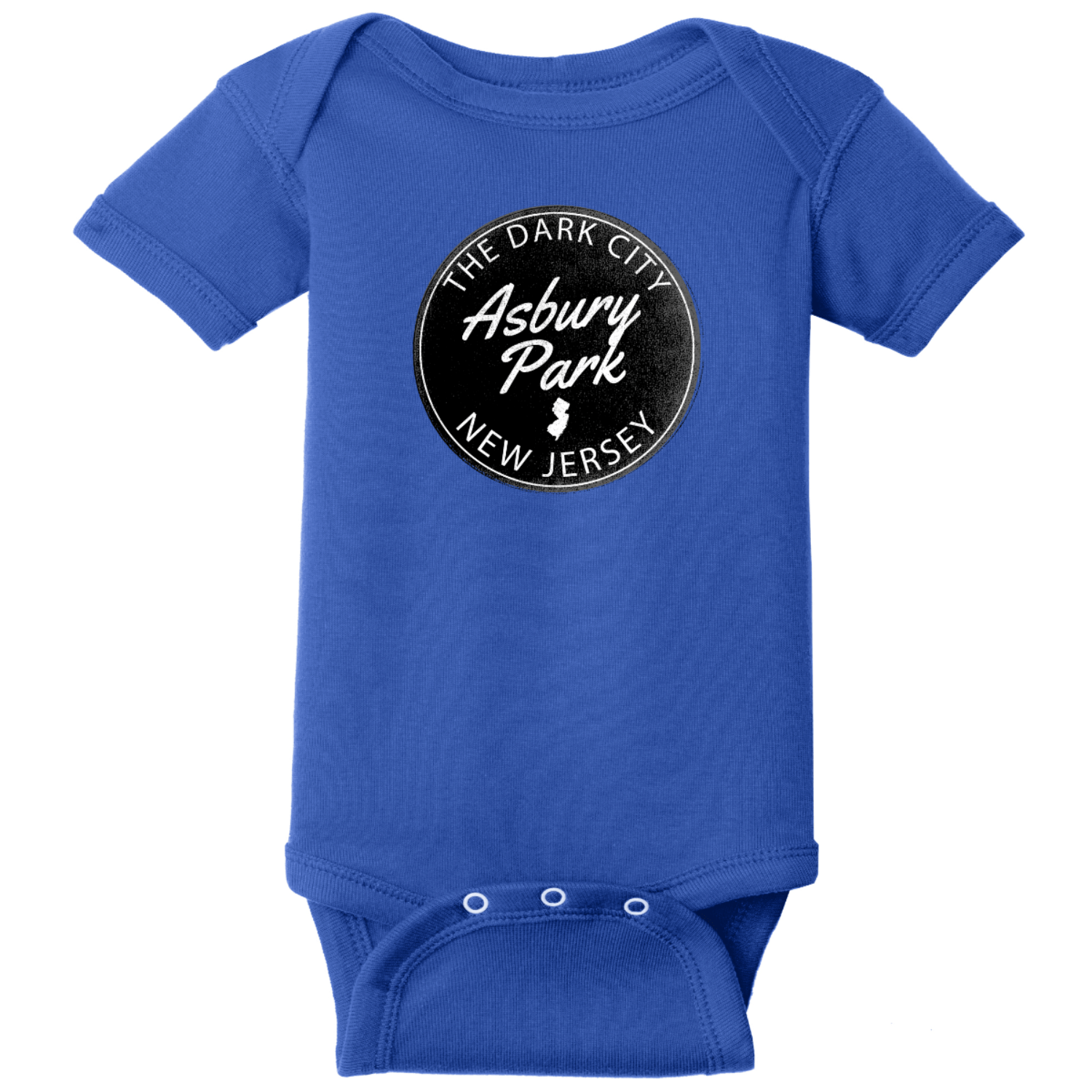 Asbury Park NJ Dark City Baby Bodysuit Royal Rabbit Skins Infant Short Sleeve Infant Rib Bodysuit RS4400