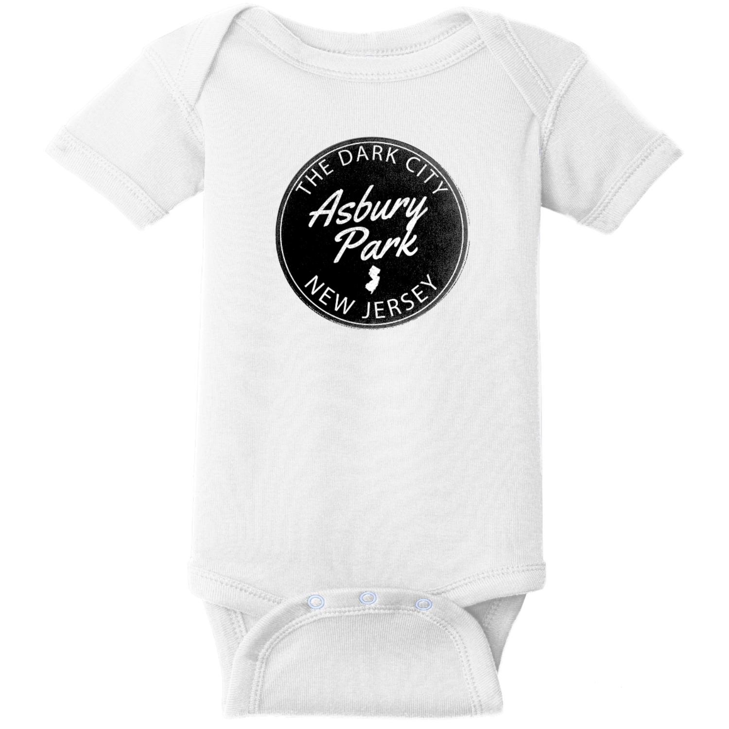 Asbury Park NJ Dark City Baby Bodysuit White Rabbit Skins Infant Short Sleeve Infant Rib Bodysuit RS4400