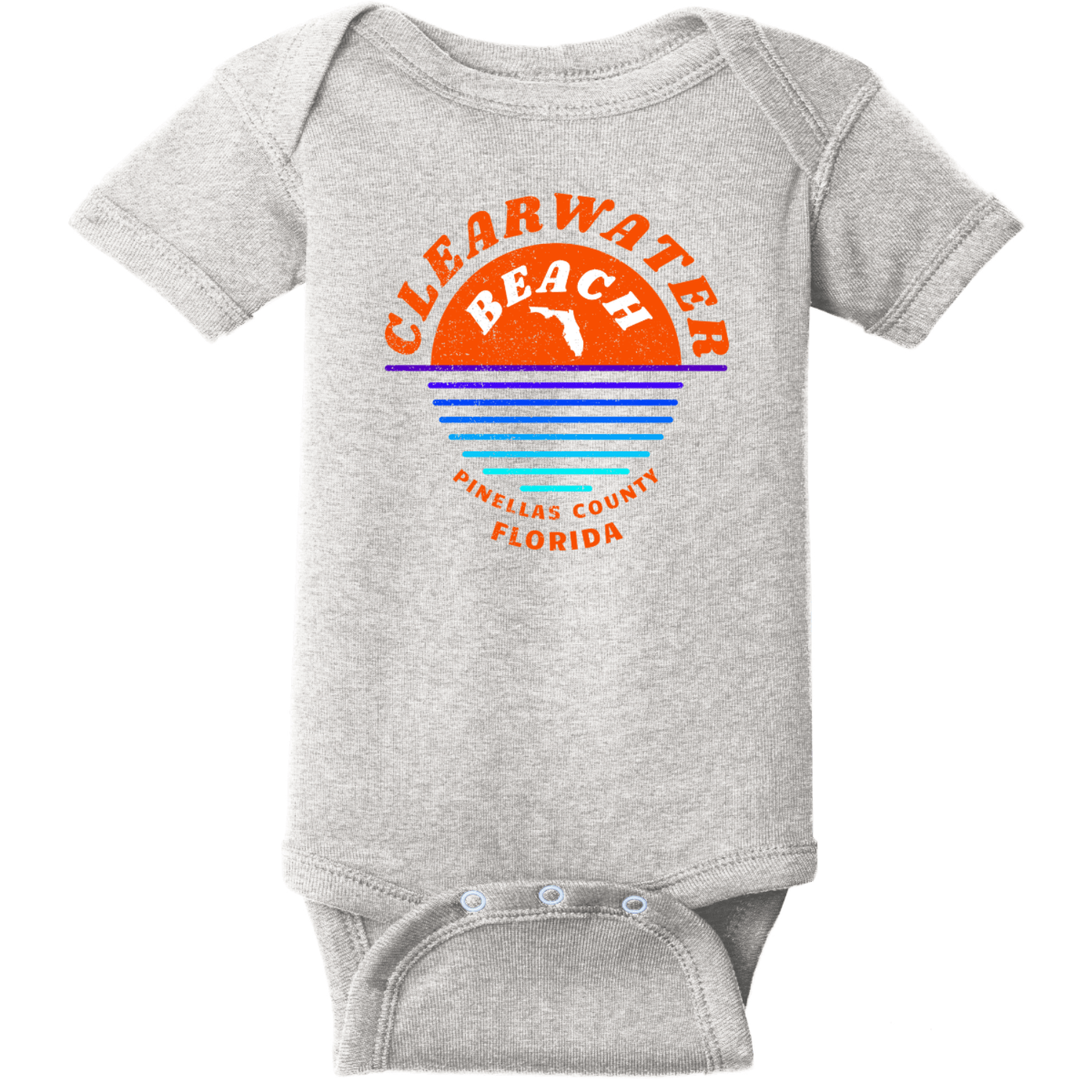 Clearwater Beach Sunset In Ocean Vintage Baby Bodysuit Heather Rabbit Skins Infant Short Sleeve Infant Rib Bodysuit RS4400