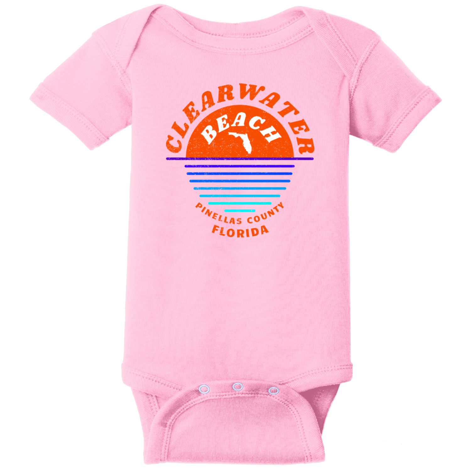 Clearwater Beach Sunset In Ocean Vintage Baby Bodysuit Pink Rabbit Skins Infant Short Sleeve Infant Rib Bodysuit RS4400