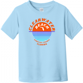 Clearwater Beach Sunset In Ocean Vintage Toddler T-Shirt Light Blue Rabbit Skins Toddler Fine Jersey Tee RS3321