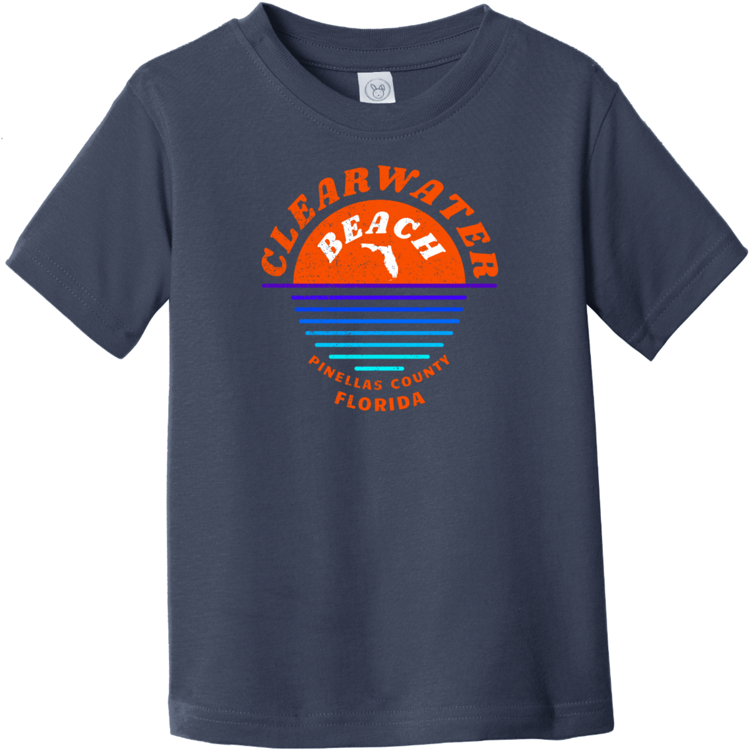 Clearwater Beach Sunset In Ocean Vintage Toddler T-Shirt Navy Rabbit Skins Toddler Fine Jersey Tee RS3321