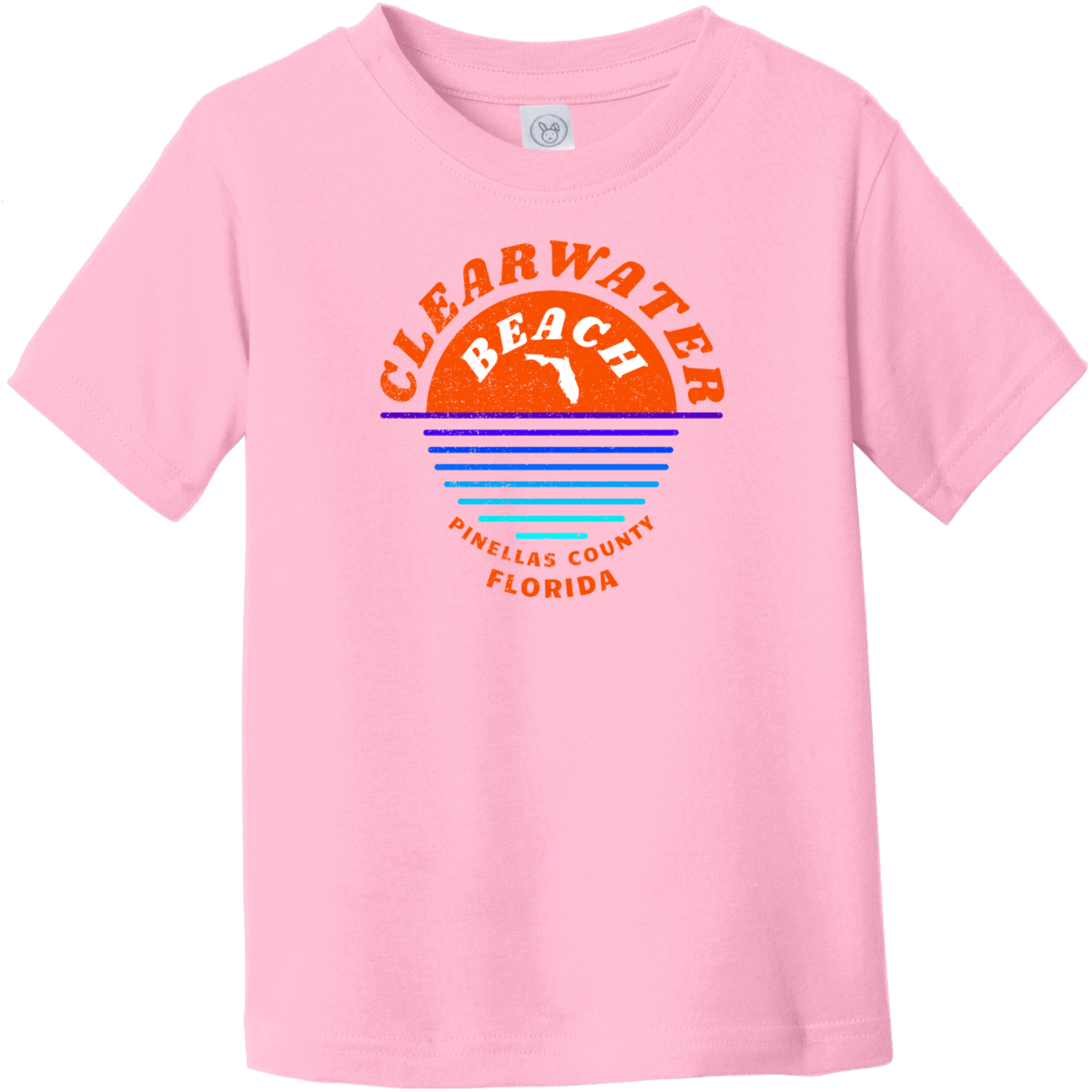 Clearwater Beach Sunset In Ocean Vintage Toddler T-Shirt Pink Rabbit Skins Toddler Fine Jersey Tee RS3321