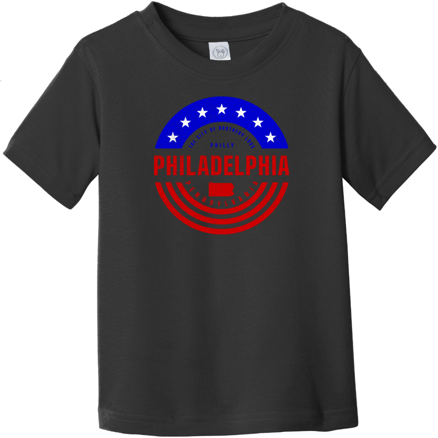 Philadelphia Pennsylvania Patriotic Toddler T-Shirt Black Rabbit Skins Toddler Fine Jersey Tee RS3321