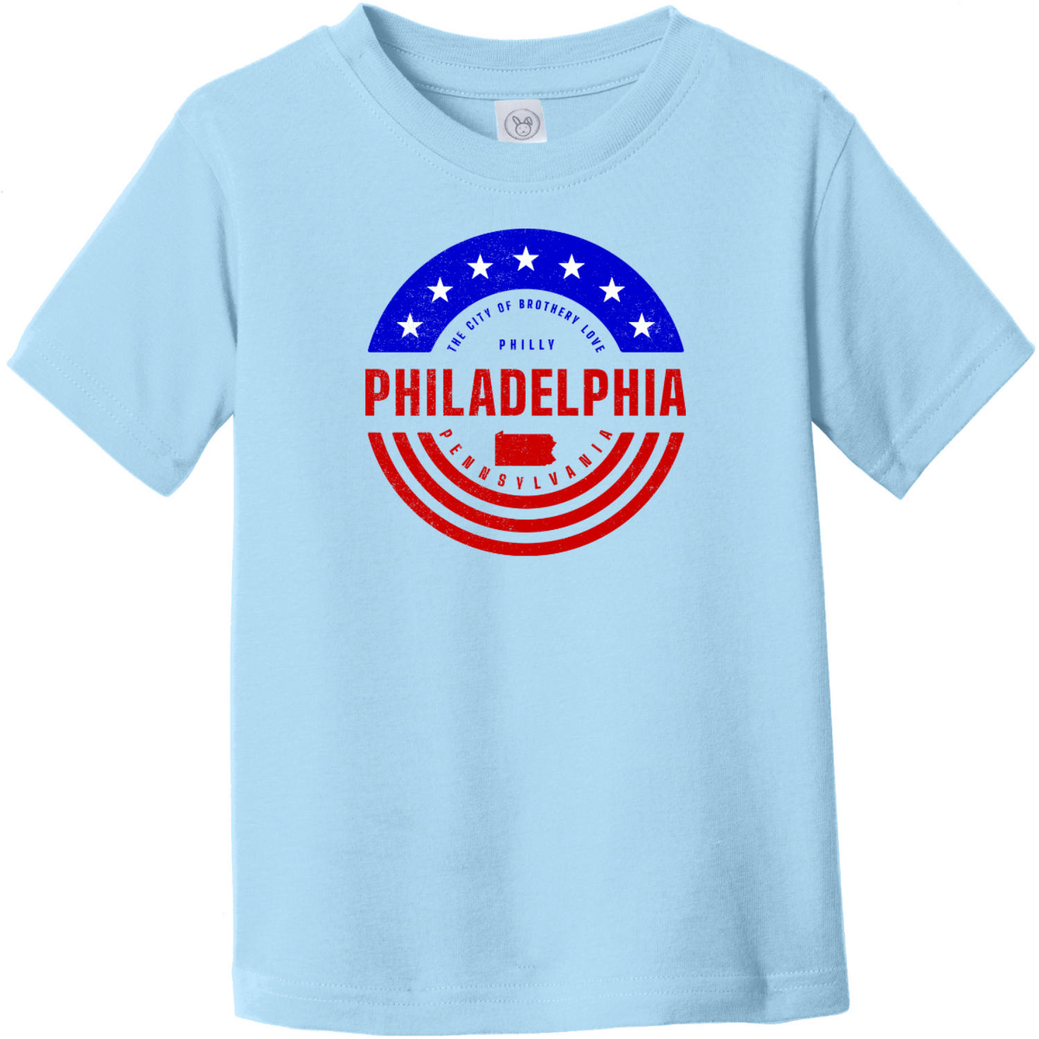 Philadelphia Pennsylvania Patriotic Toddler T-Shirt Light Blue Rabbit Skins Toddler Fine Jersey Tee RS3321