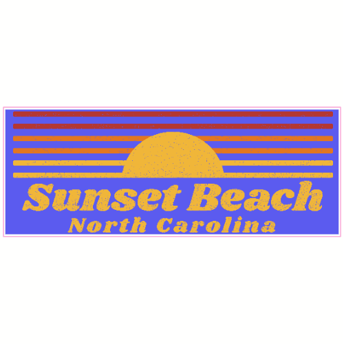 Sunset Beach North Carolina Retro Sticker | U.S. Custom Stickers