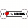 I Love My Bichon Dog Bone Sticker