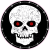 Skull With Red Eyes Circle Sticker